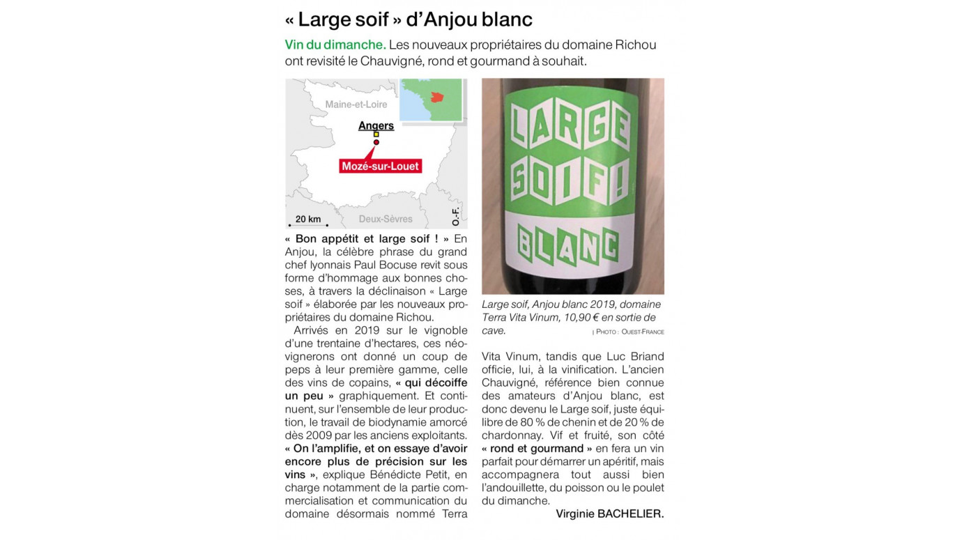 Large soif d'Anjou blanc - article Ouest France du 15-11-2020